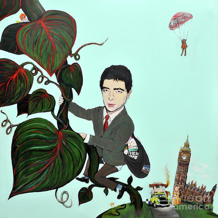 Rowan Painting - Rowan Atkinson Mr Beanstalk by Michelle Deyna-Hayward