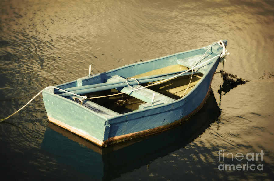 Blue Rowboat At Twilight Photograph - Rowboat At Twilight by Mary Machare