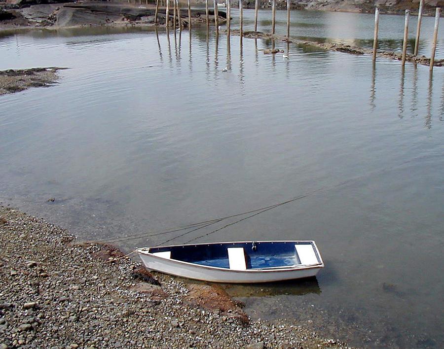 Landscape Photograph - Rowboat On The Shore by Joe Maranzano