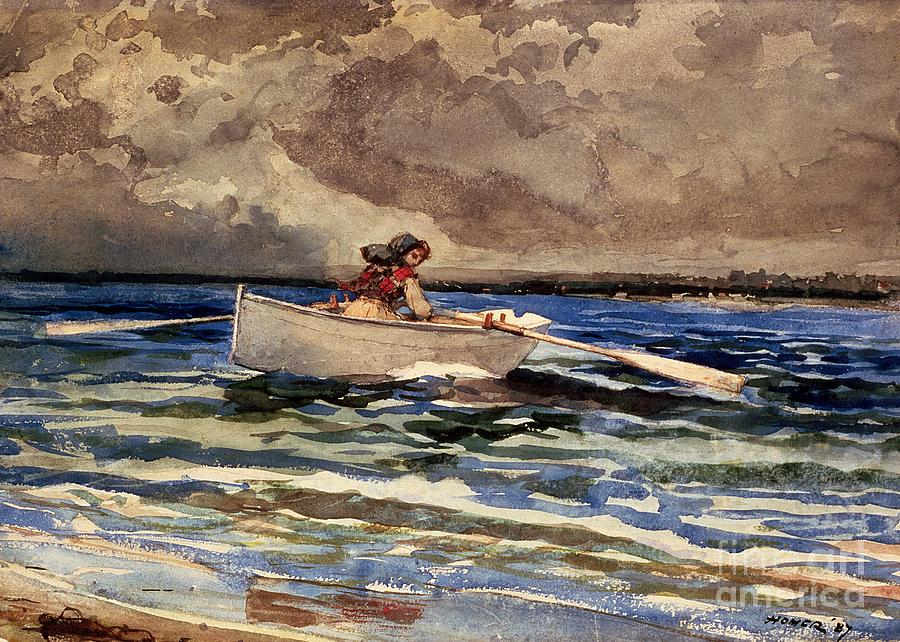Boat Painting - Rowing At Prouts Neck by Winslow Homer