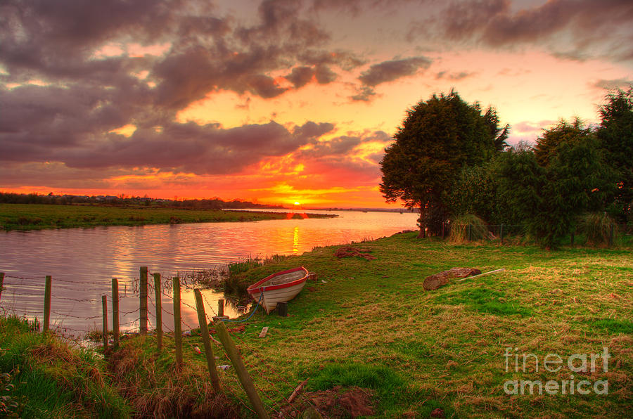 Sunset Photograph - Rowing Boat At Bannfoot Loughneagh by Kim Shatwell-Irishphotographer