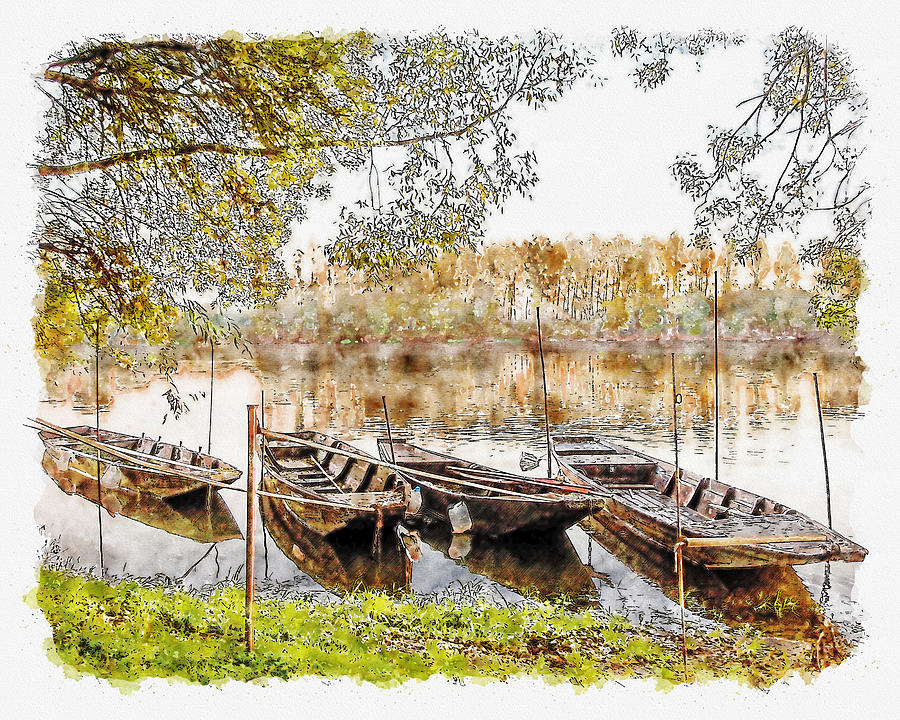 Rowing Boats and Punts on the Loire France by Anthony Murphy