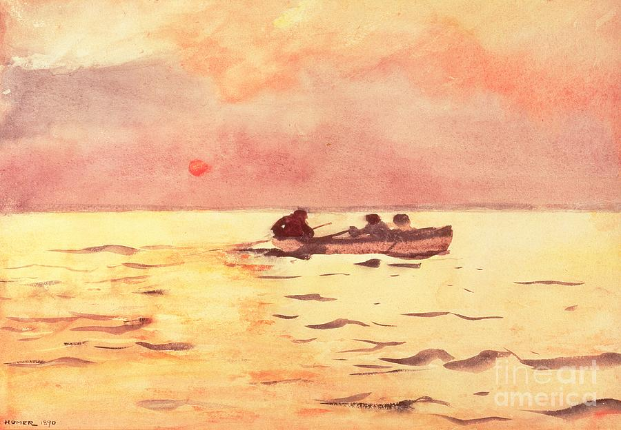 Setting Sun Painting - Rowing Home by Winslow Homer