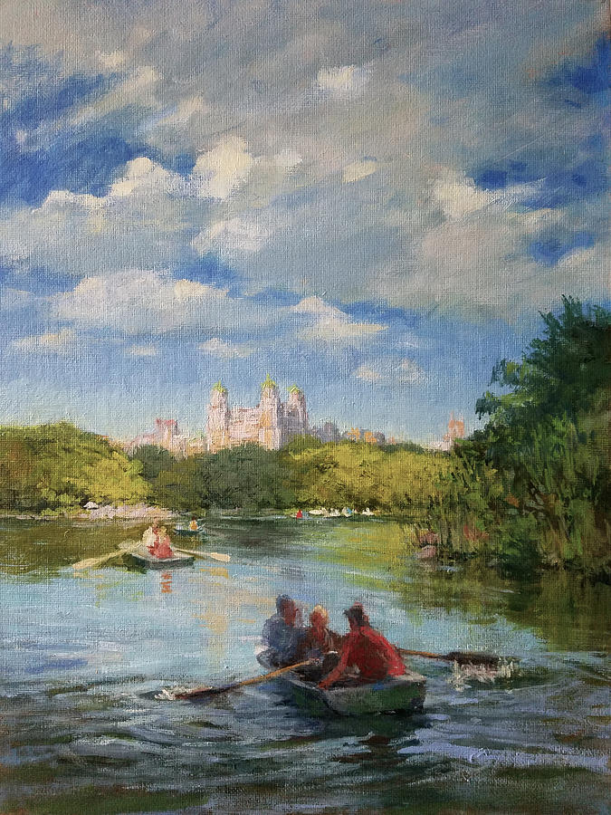 Urban Landscape Paintings Painting - Rowing On The Lake, Central Park by Peter Salwen