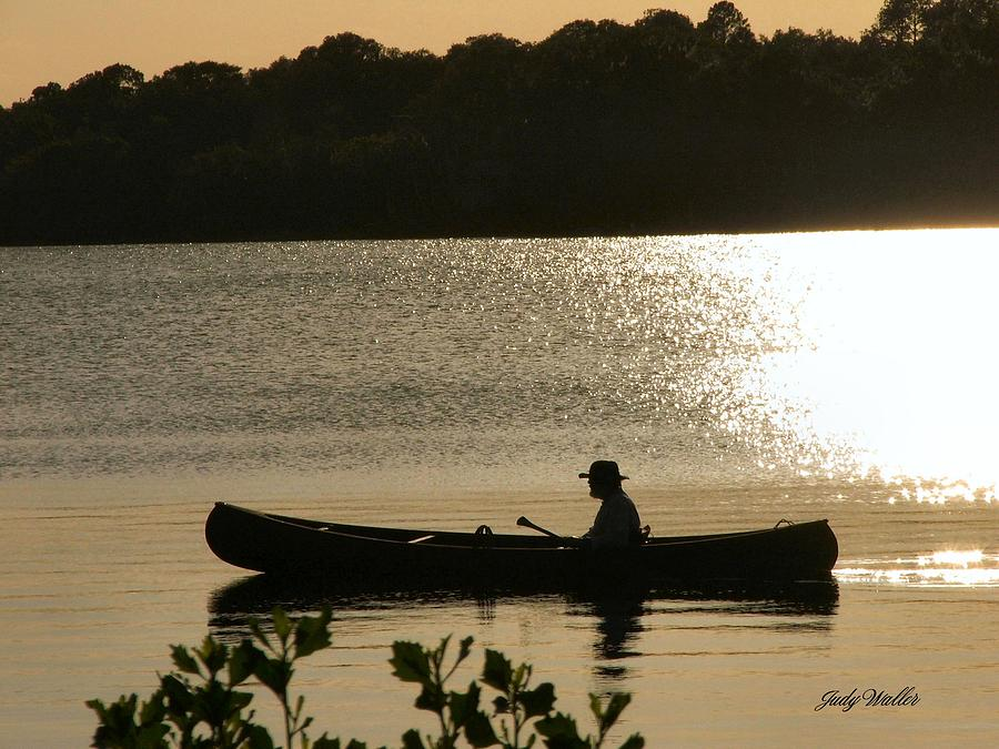 Water Photograph - Rowing On The Lake by Judy  Waller