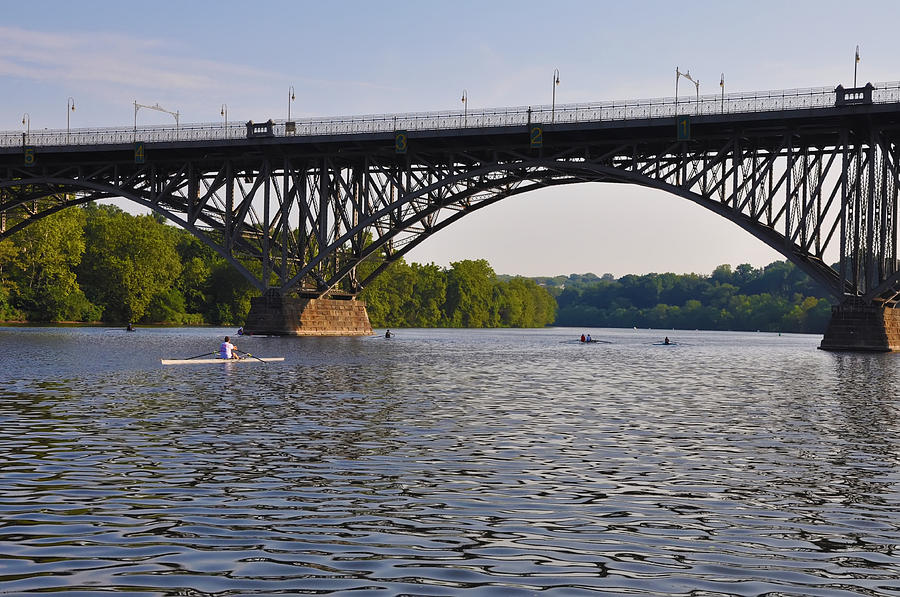 Rowing Photograph - Rowing Under The Strawberry Mansion Bridge by Bill Cannon