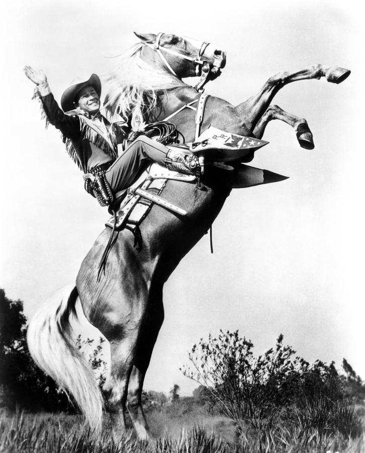 Cowboy Photograph - Roy Rogers Riding Trigger, Ca. 1940s by Everett