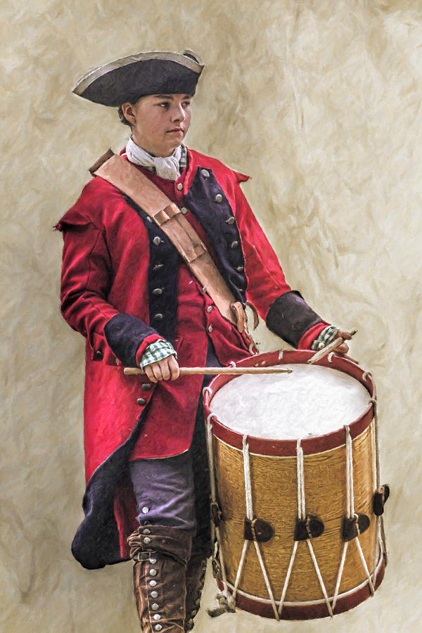 Drum Digital Art - Royal Americans Drummer Boy by Randy Steele