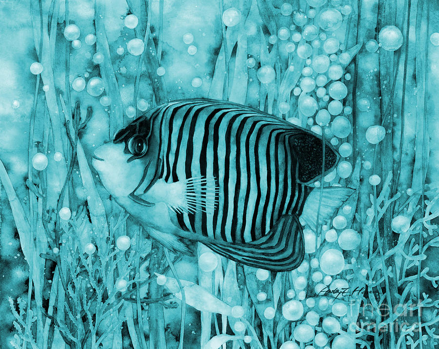 Royal Angelfish On Blue Painting