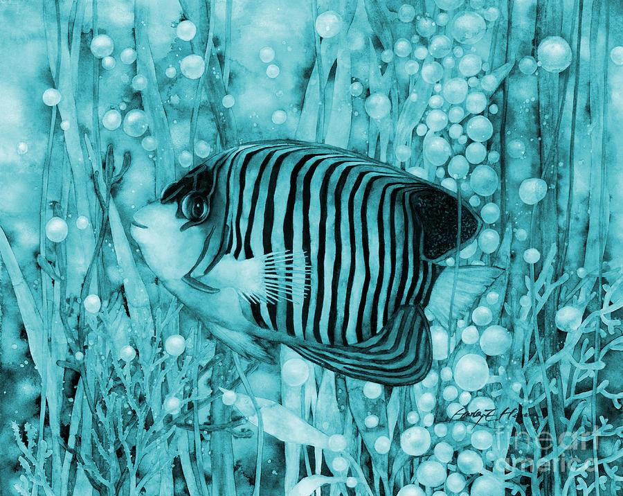 Mono Painting - Royal Angelfish in Blue by Hailey E Herrera