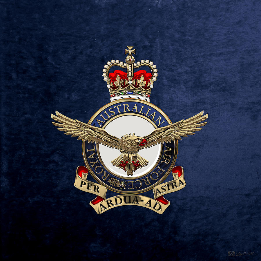Military Digital Art - Royal Australian Air Force -  R A A F  Badge Over Blue Velvet by Serge Averbukh