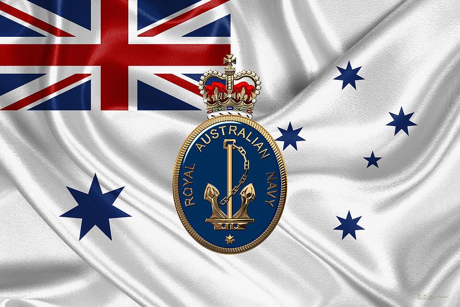 Military Digital Art - Royal Australian Navy Badge Over R A N  Ensign by Serge Averbukh