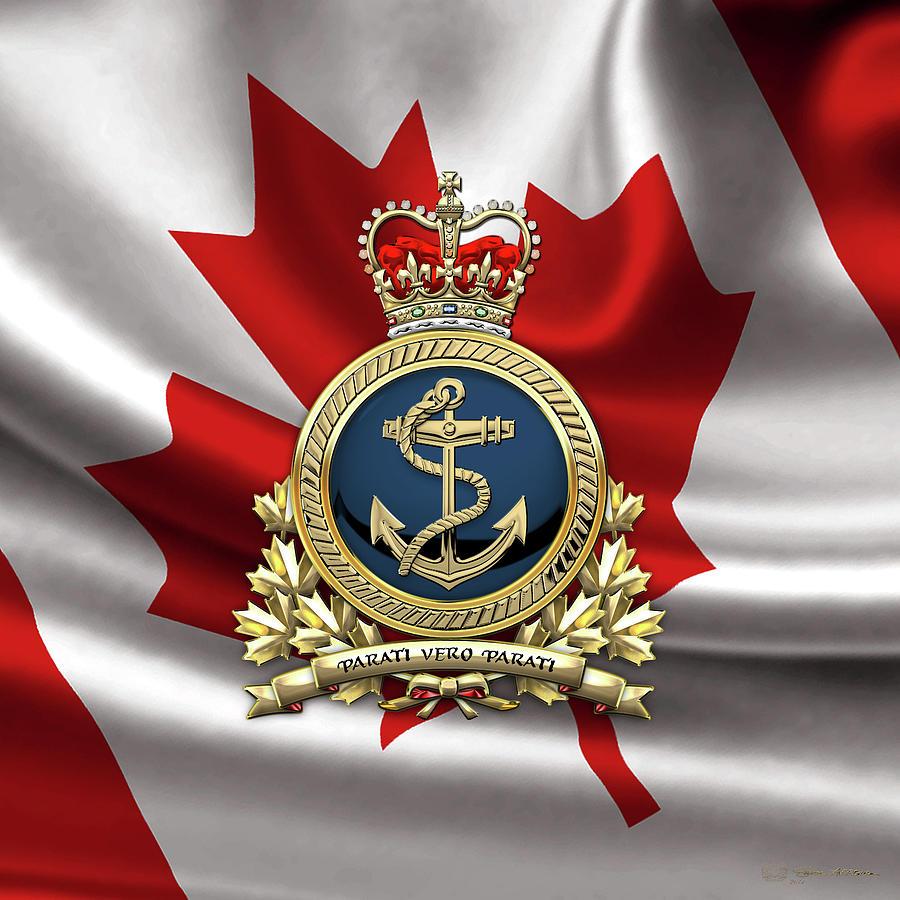 Military Digital Art - Royal Canadian Navy  -  R C N  Badge Over Canadian Flag by Serge Averbukh