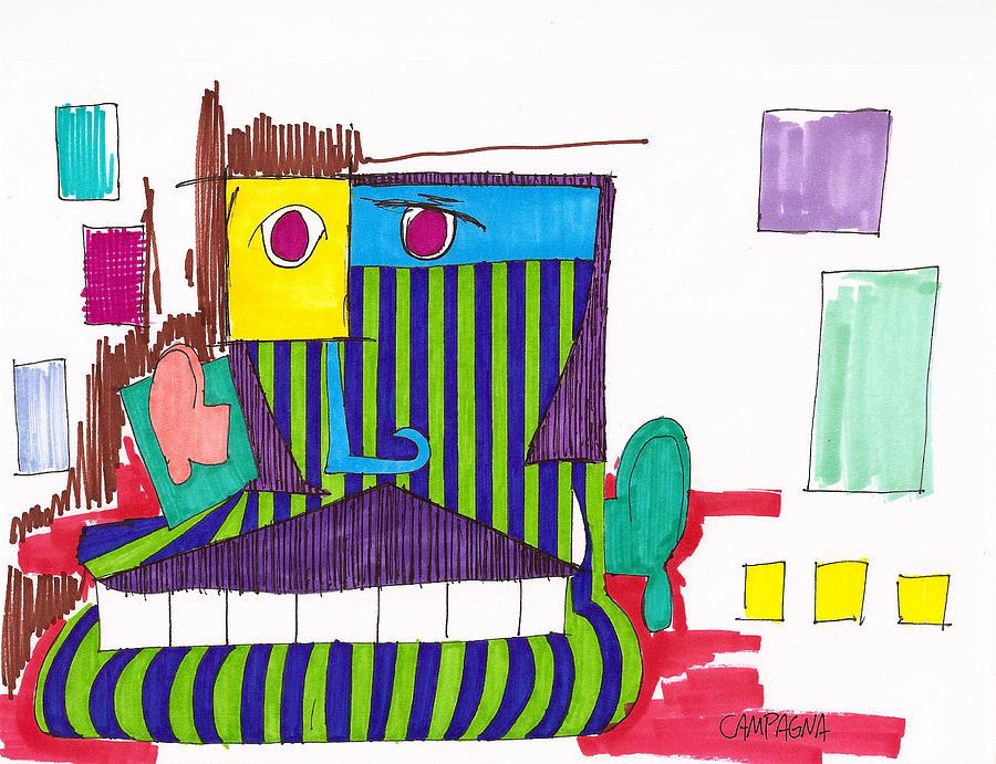 Chin Drawing - Royal Chops by Teddy Campagna