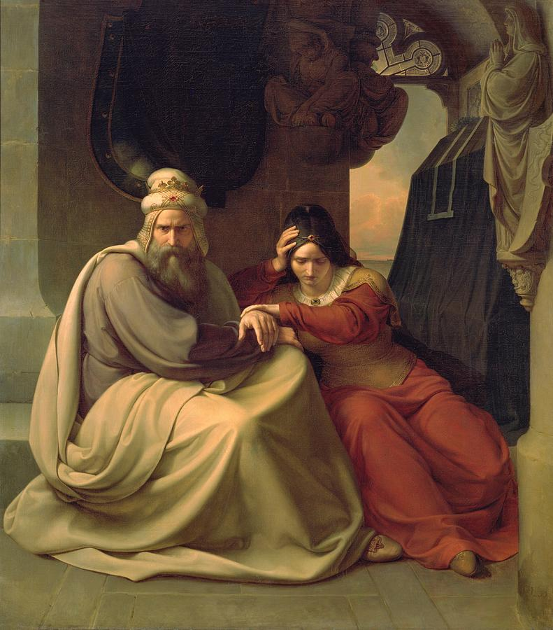 Tragic Painting - Royal Couple Mourning For Their Dead Daughter by Carl Friedrich Lessing