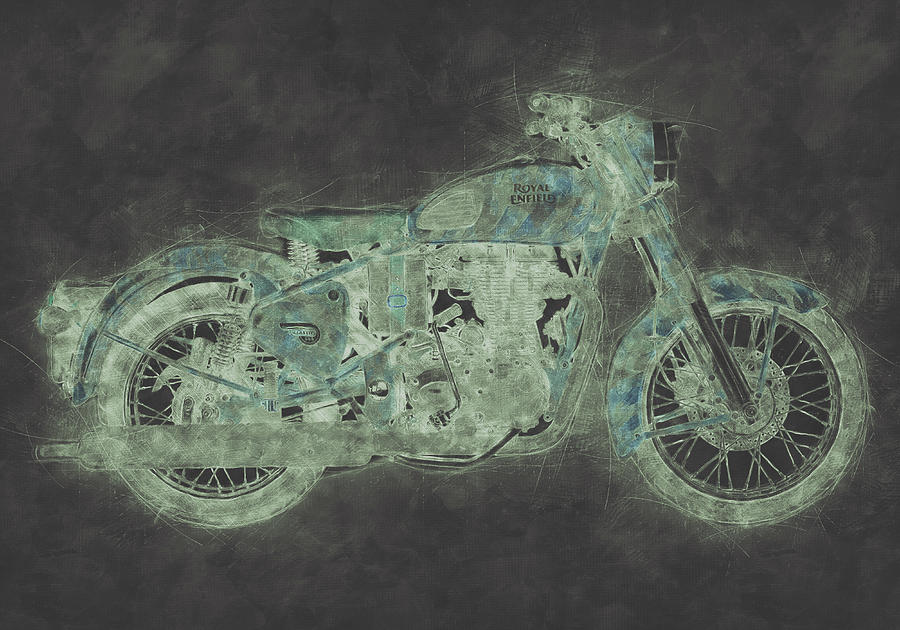 Royal Enfield Bullet 3 - Royal Enfield - Motorcycle Poster - Automotive Art Mixed Media