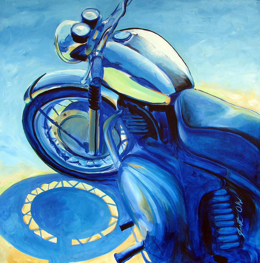Motorcycle Art Painting - Royal Enfield by Janet Oh