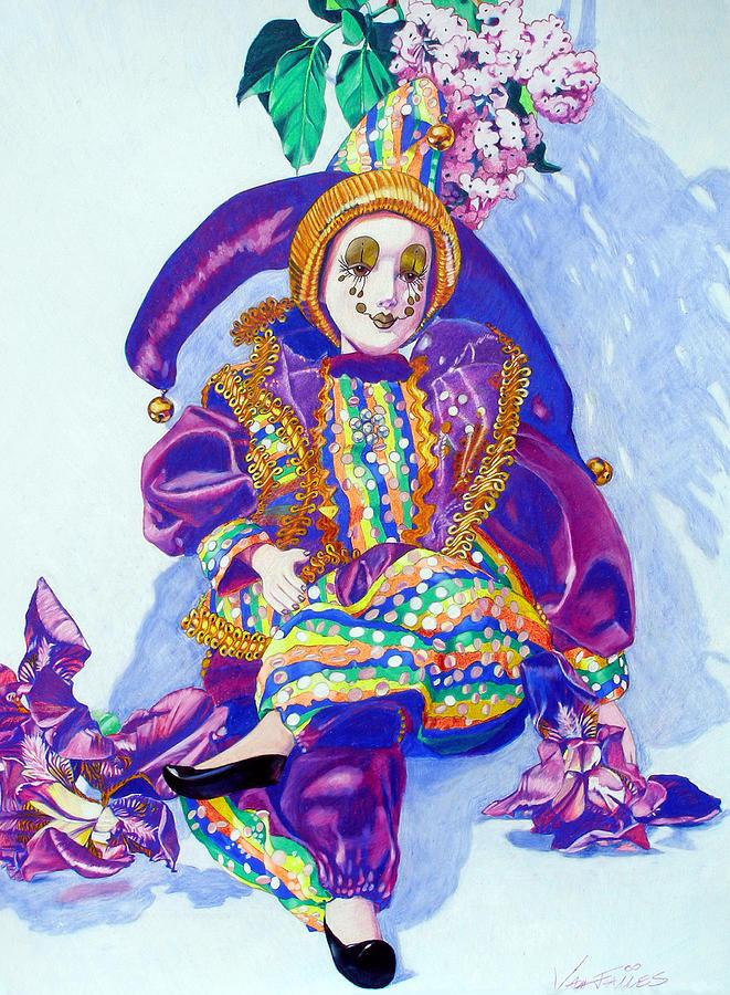 Doll Drawing - Royal Harlequin by CJ Van James