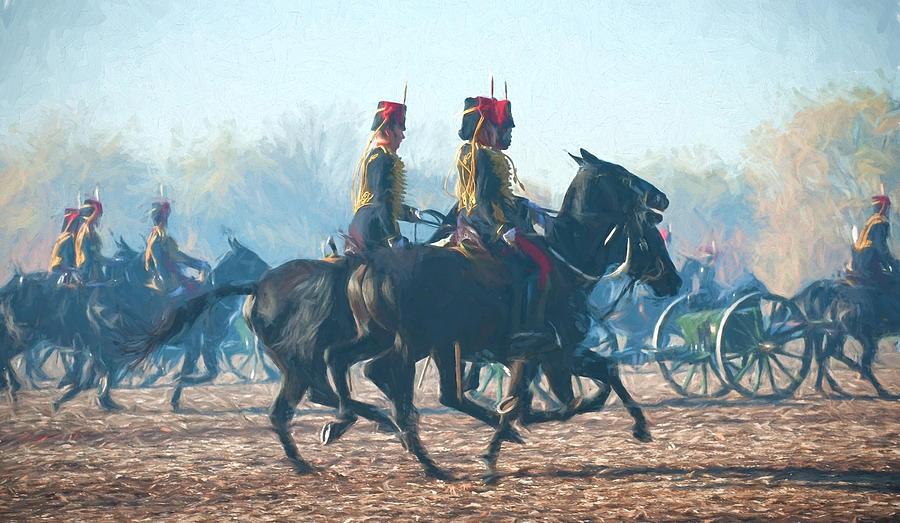 13 Pounder Digital Art - Royal Horse Artillery Painted by Roy Pedersen