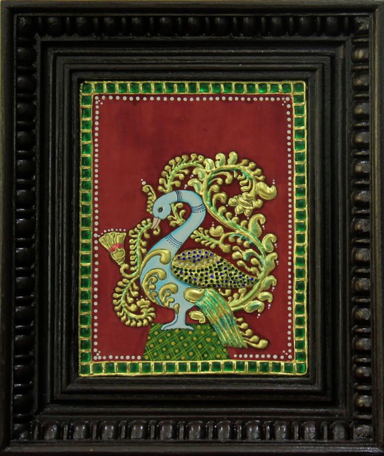 Tanjore Painting - Royal Peacock by Sarandha D L