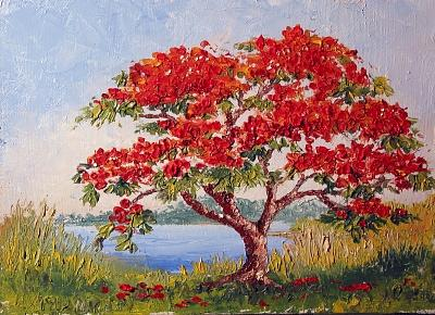 Poinciana Painting - Royal Poinciana By The River by Lenore McNamara