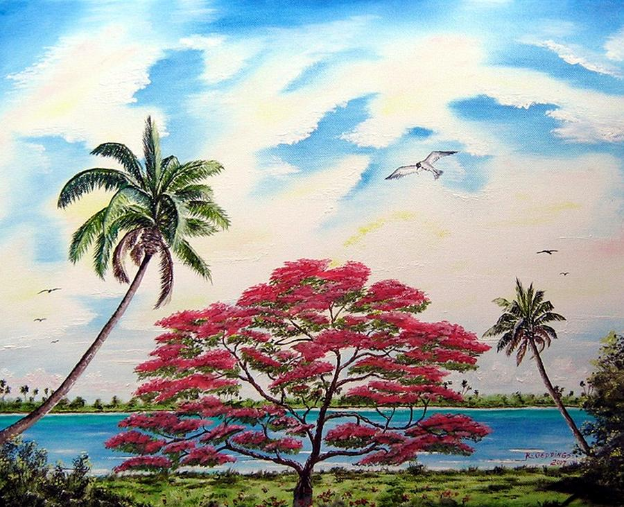 Poinciana Painting - Royal Poinciana Tree 2 by Riley Geddings