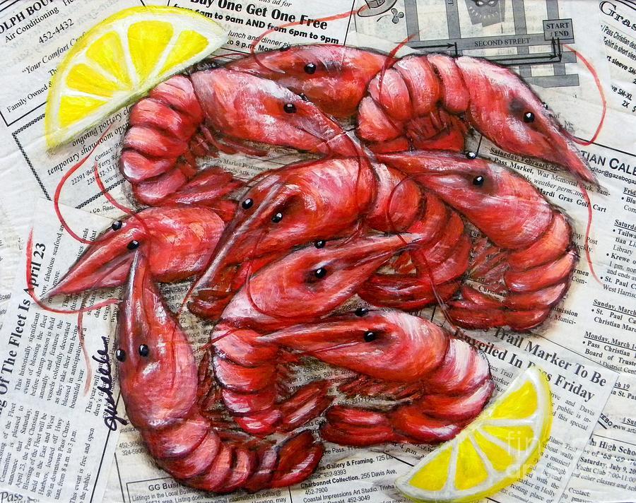 Crawfish Painting - Royal Reds by JoAnn Wheeler