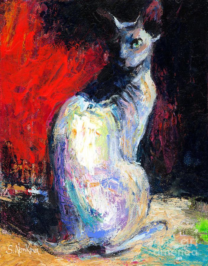 Custom Pet Painting Painting - Royal Sphynx Cat Painting by Svetlana Novikova