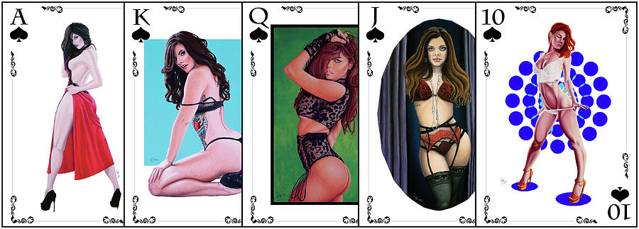 Joe Ogle Digital Art - Royal Straight Flush Spades 1 by Joseph Ogle
