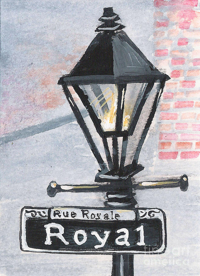 New Orleans Painting - Royal Street Lampost by Elaine Hodges