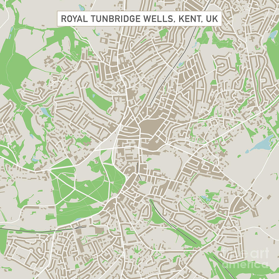 Royal Tunbridge Wells Kent Uk City Street Map Digital Art by Frank