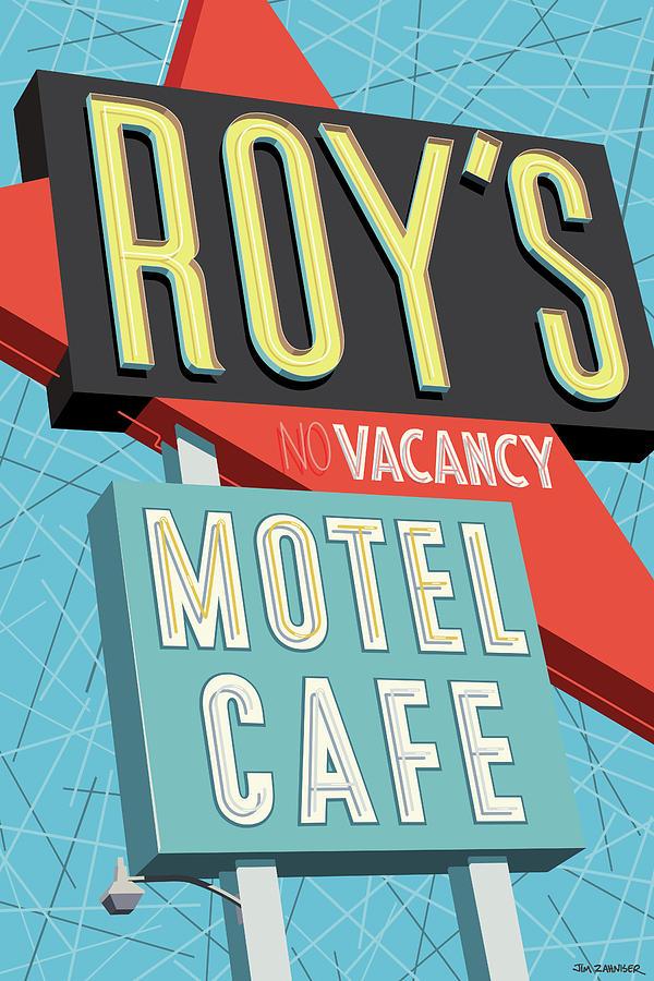 Googie Digital Art - Roys Motel Cafe Pop Art by Jim Zahniser