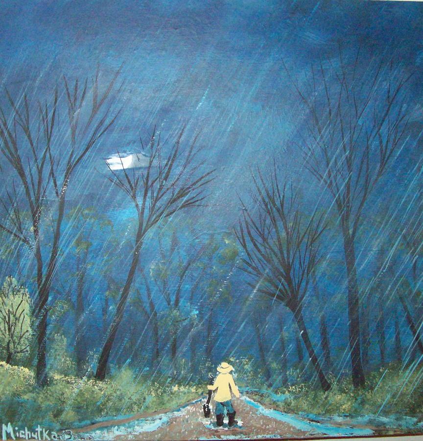 Folk Painting - Roys Rainy Run by Susan Michutka
