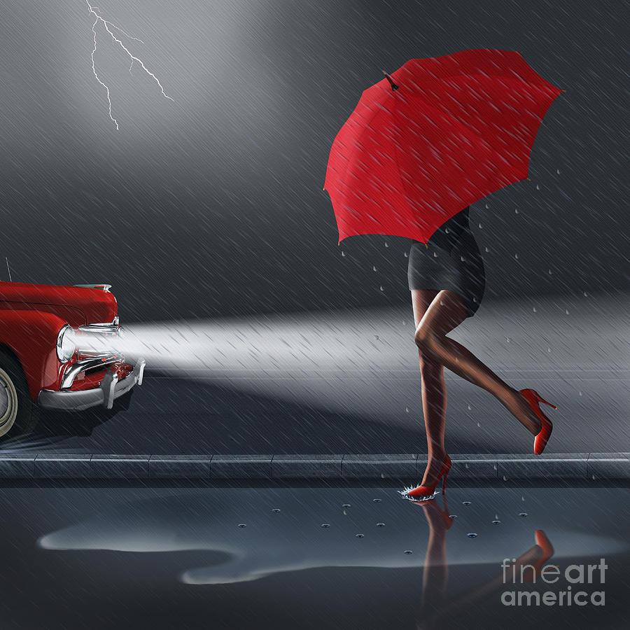 Black And White Mixed Media - Rainy Day by Monika Juengling