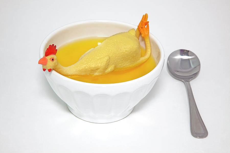 Bizarre Photograph - Rubber Chicken Soup Cure Funny Fever by Noel Baebler
