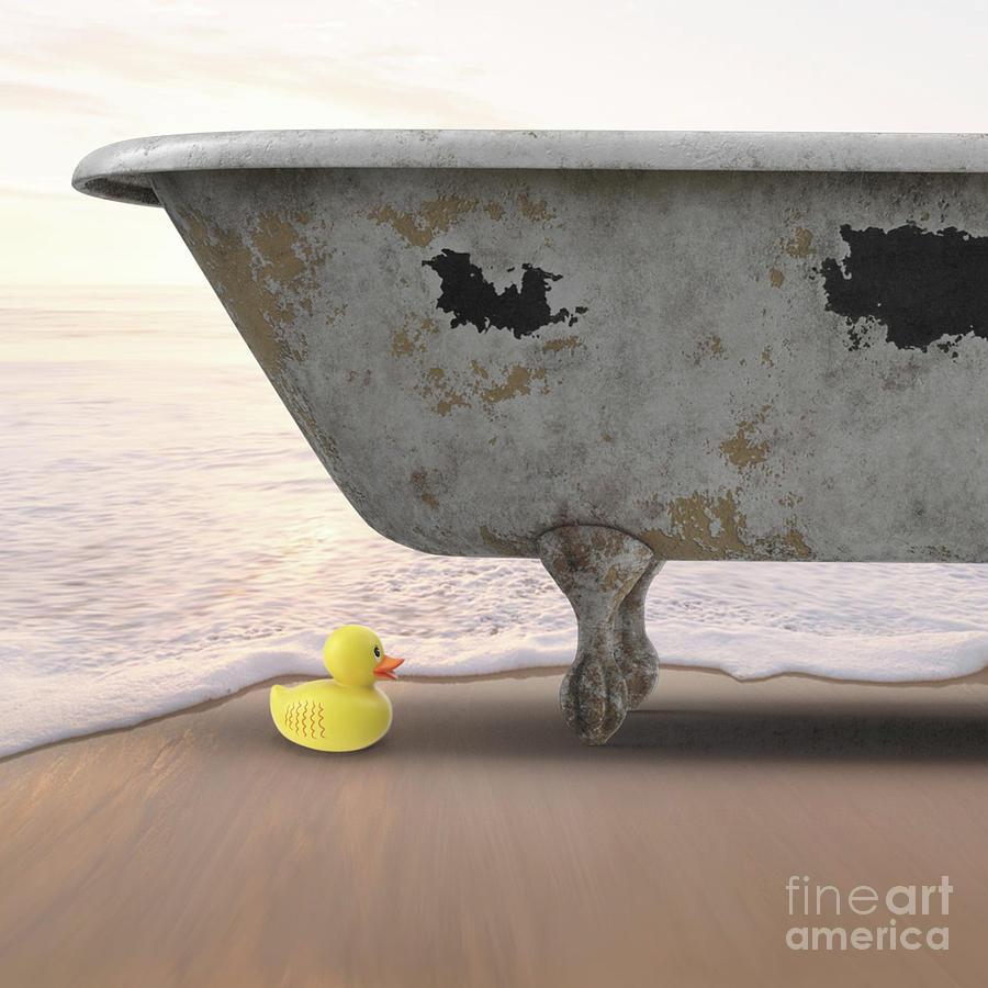 Rubber Digital Art - Rubber Ducky Bathtub Beach Surreal by Edward Fielding