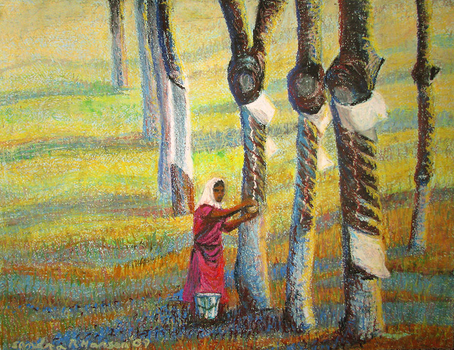 India Painting - Rubber Tapping At Dawn by Art Nomad Sandra  Hansen