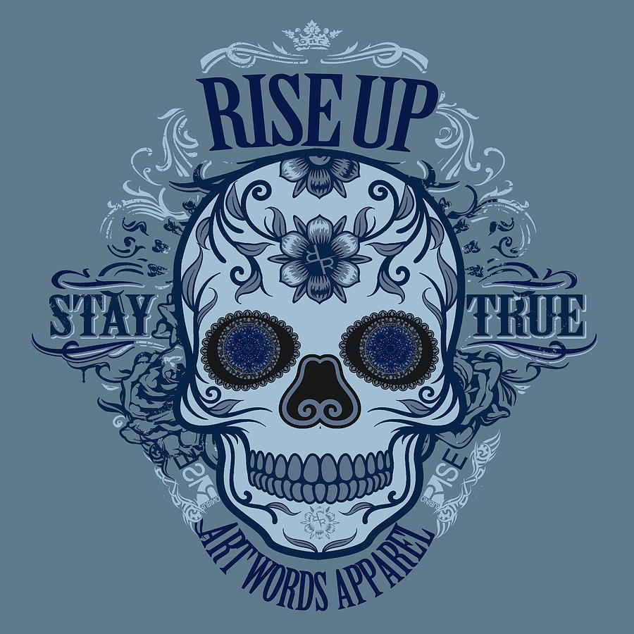 Rubino Rise Up Skull Blue Painting by Tony Rubino
