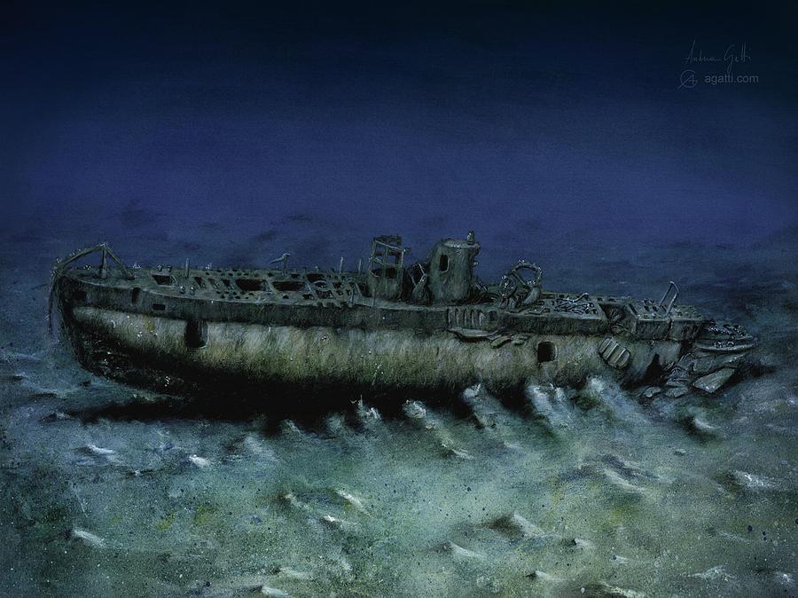 French Submarine Rubis Wreck Digital Art