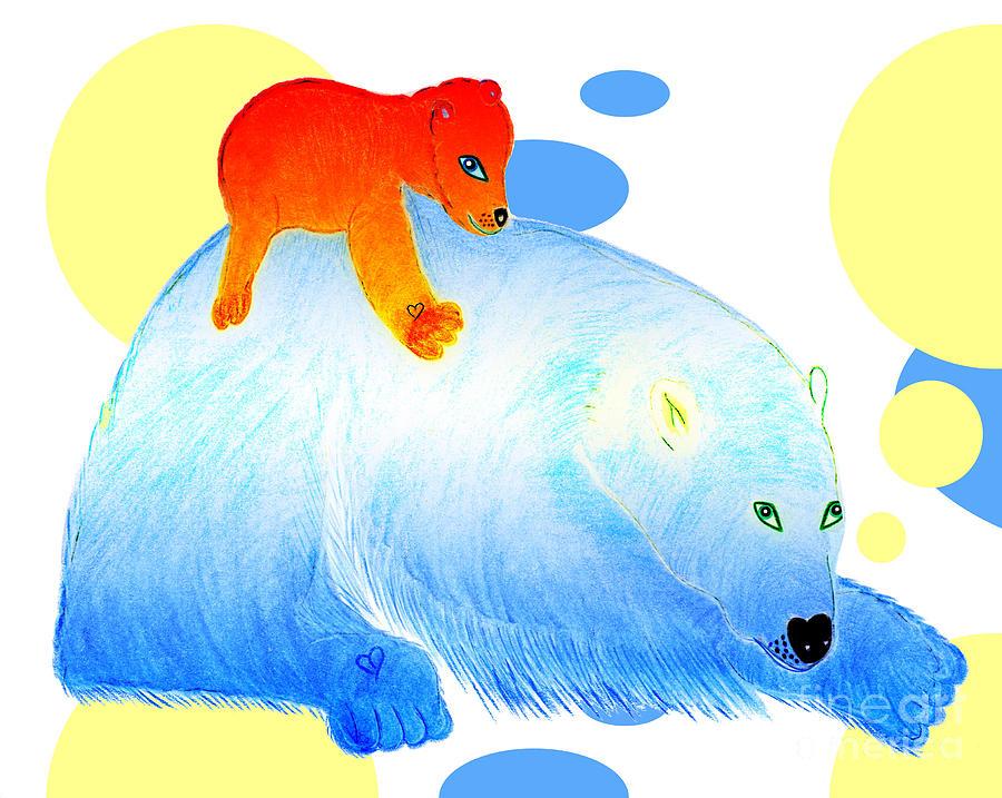 Bears Painting - Ruby and Apple by Tess M J Iroldi