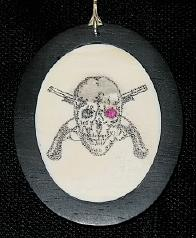 Scrimshaw Mixed Media - Ruby-eyed Jolly Roger by Jim Stevens