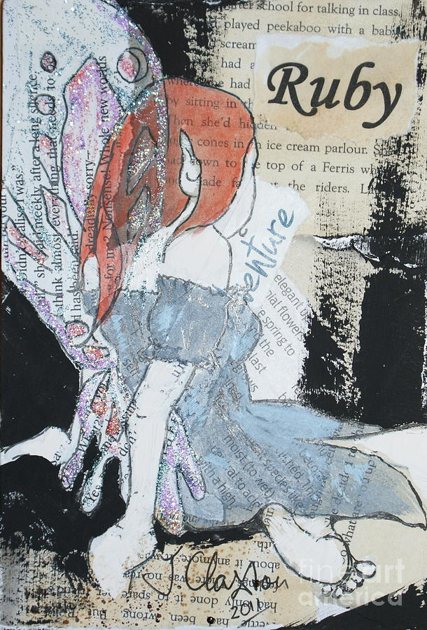 Fairy Mixed Media - Ruby Fairy by Joanne Claxton