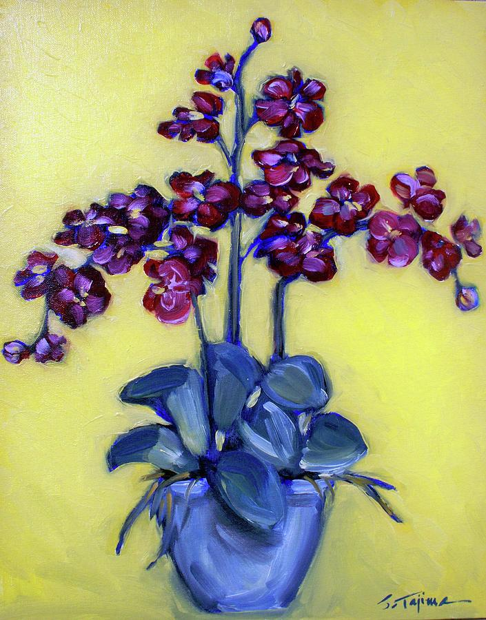 Orchids Painting - Ruby Red Orchids by Sheila Tajima