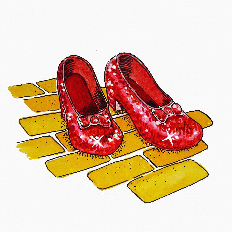 Wizard Of Oz Painting - Ruby Slippers The Wizard Of Oz  by Irina Sztukowski