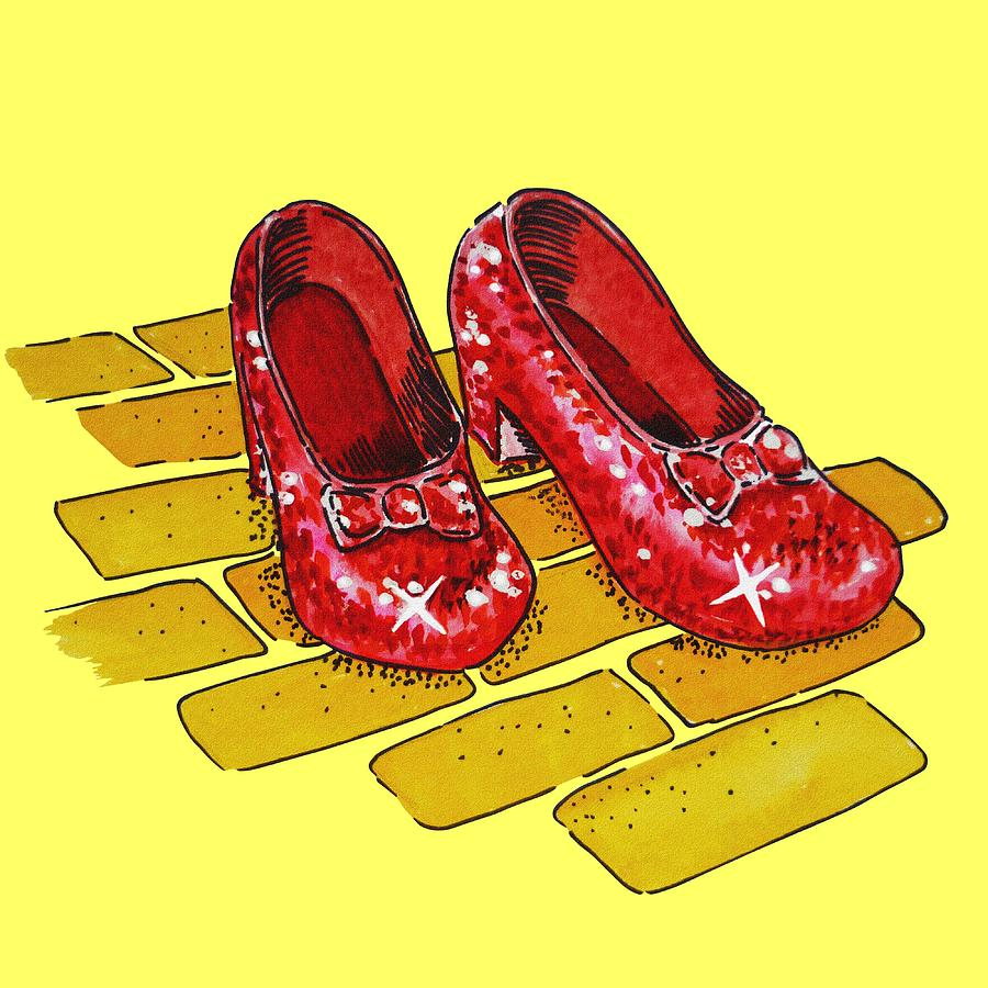 Ruby Slippers Wizard Of Oz Painting by Irina Sztukowski