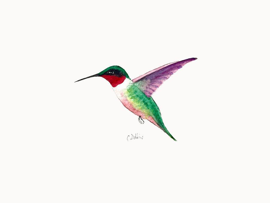 Hummingbird Painting - Ruby-throated Hummingbird by Christiane Dobbins