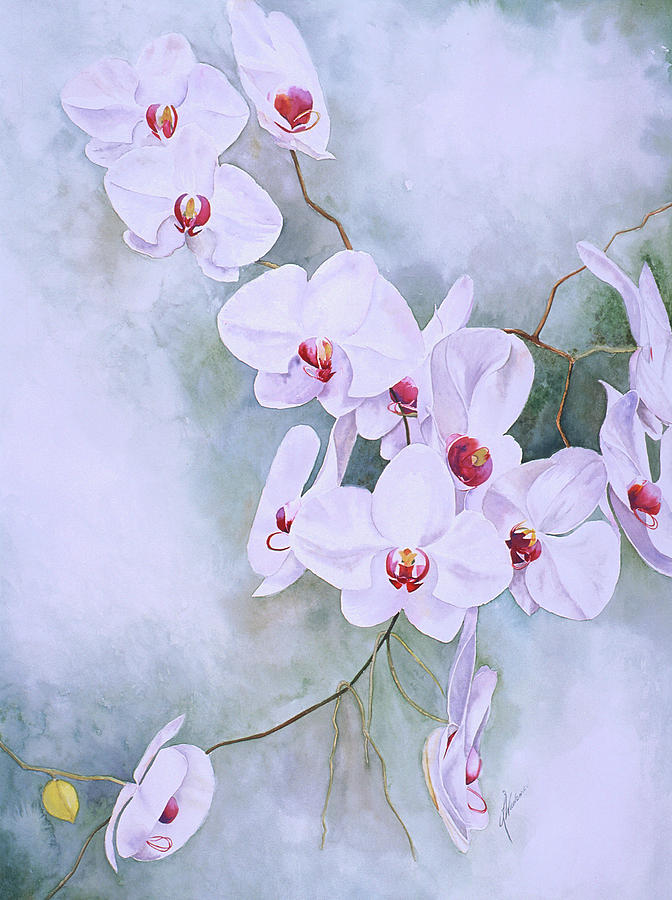Orchids Painting - Ruby Throated II by Leah Wiedemer