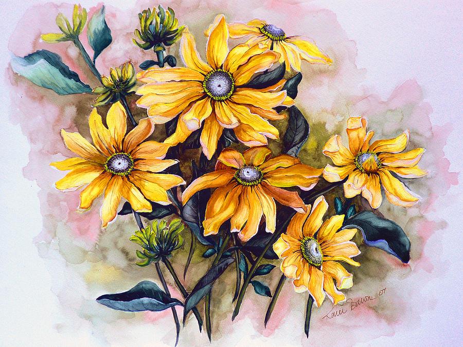 Rudbeckia  Prairie Sun Painting by Karin  Dawn Kelshall- Best