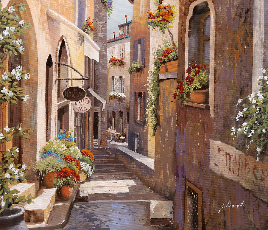 Rue Du Bresc In St Paul De Vence Painting By Guido Borelli