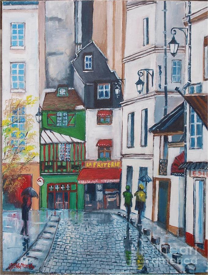 Street Painting - Rue Galande, Paris by Jean Pierre Bergoeing